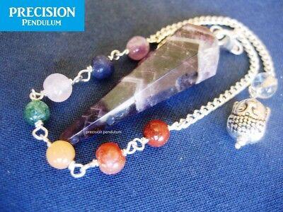 Amethyst Chakra Buddha Chain Faceted Healing Crystal Gemstone Precision Pendulum 2