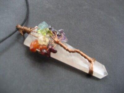 Chakra Tree Of Life Rose Quartz Crystal Gemstone Pendant with Cord Necklace 7