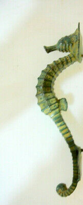 "small SEAHORSE solid brass door AGED GREEN old style house PULL handle 10"" B 2"