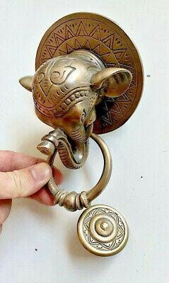 "heavy ELEPHANT trunk front Door Knocker SOLID 100% BRASS old style house  6"" B 3"