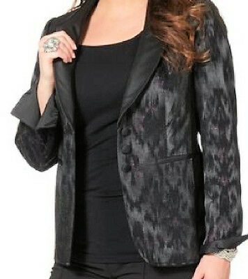 NEU Damen Kurz Blazer schwarz Struktur Futter Stretch Knöpfe Taschen Gr. 50 52 8