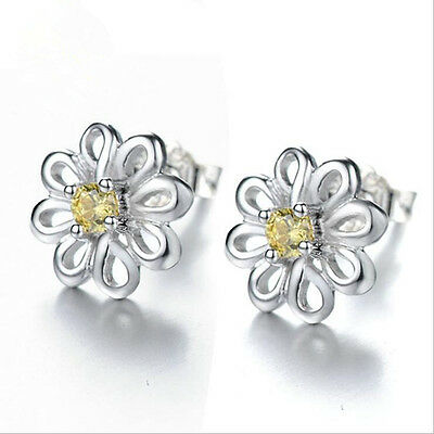 Shiny 925 Sterling Silver PLT Cute Small Daisy Flower Yellow CZ Stud Earrings UK 2