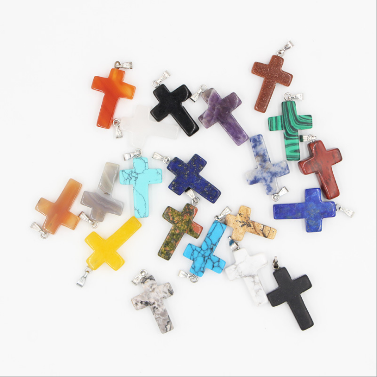 Cross Natural Stone Quartz Charms Pendant Necklace Women Men Jewelry Choker Gift 2