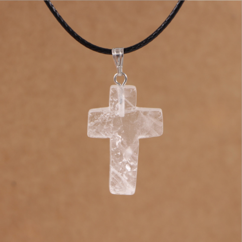 Cross Natural Stone Quartz Charms Pendant Necklace Women/Men Jewelry Choker Gift 9