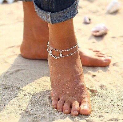 Infinity Fußkettchen Fusskette Liebe ❤️ Schmuck Armband Fußschmuck Silber P127a 2