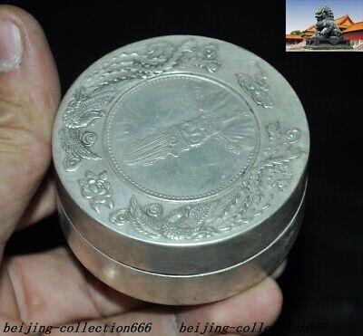 Old Chinese Tibet Silver Dragon Beast Yuan Shikai Coin statue Inkpad Box Boxes 5
