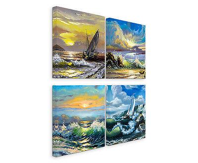 Wandbilder 4x30x30cm Leinwandbild auf Keilrahmen Schiff Meer Sturm Blitz Wellen