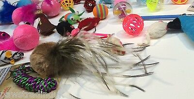 20 X  Bulk Buy Cat Kitten Toys Rod Fur Mice Bells Balls  Catnip BARGAIN JOB LOT 5