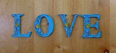 "BLUE CAST IRON WALL LETTER ""U"" 6.5"" TALL rustic vintage decor sign child nursery 6"