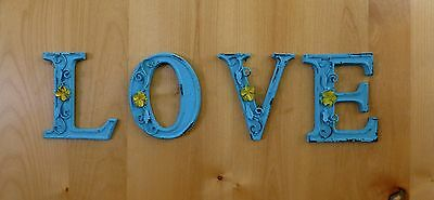 "BLUE CAST IRON WALL LETTER ""A"" 6.5"" TALL rustic vintage decor sign barn nursery 7"