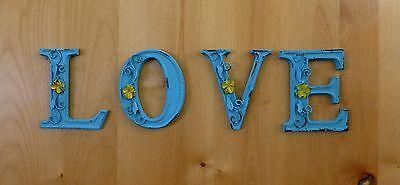"BLUE CAST IRON WALL LETTER ""E"" 6.5"" TALL rustic vintage decor sign barn nursery 6"