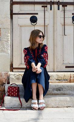 6e3ff9a947a ... ZARA Long Floral Embroidered Tassel Kaftan Midi Dress Tunic Blue Red XS  S M L XL 2