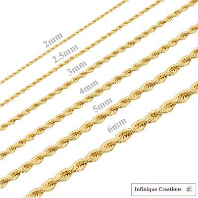 Gold Plated Stainless Steel Rope Chain Necklace Bracelet Men Women 2mm-8mm 2