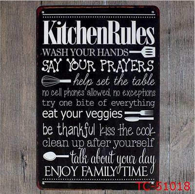 ... Kitchen Rules Vintage Metal Tin Signs Retro Plate Bar Art Decor Wall  Poster 10