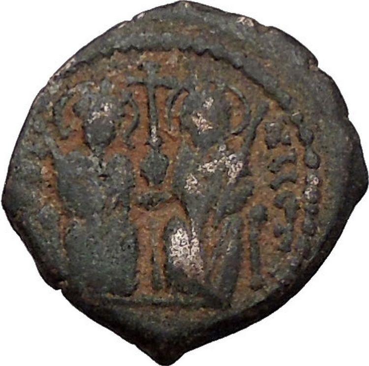 JUSTIN II & SOPHIA 565AD Theoupolis Antioch Decanummium Byzantine Coin i56523 2