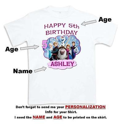 FROZEN HAPPY BIRTHDAY T SHIRT Personalized Any Name Age Toddler To Adult 3