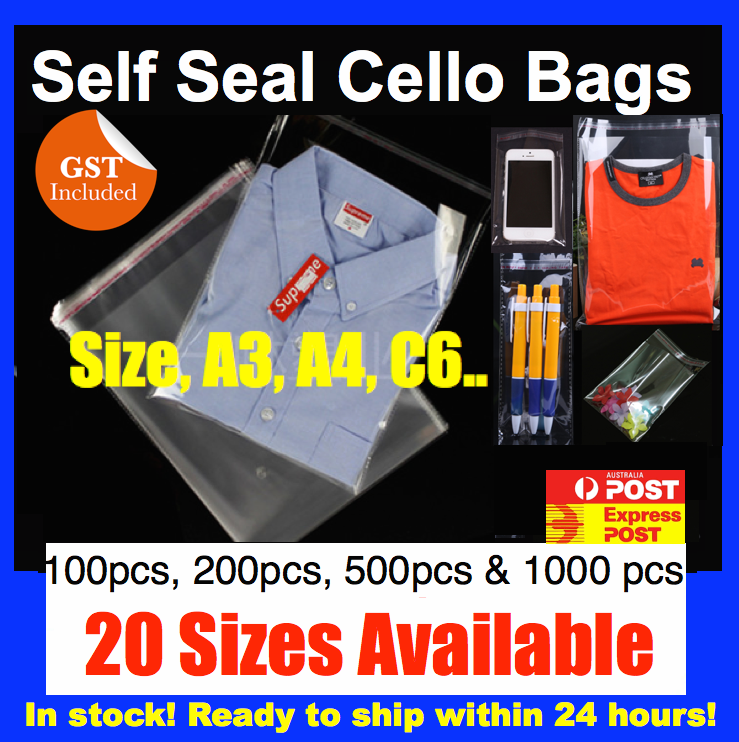 New Clear Self Seal Adhesive Cello Cellophane Resealable Plastic Bags C6 A4 A3 2