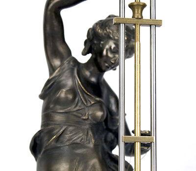 Beautiful Ansonia Cut 8 Day Movement Brass Fisher Lady Mystery Swinger Clock 7