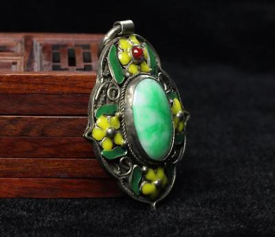 China Old Collectible Handwork Green Jade Cloisonne Flower Wonderful Pendant 3