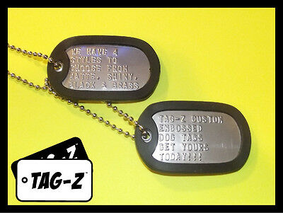 2 Military Dog Tags - Custom Embossed Stainless - GI Identification w/ Silencers 2