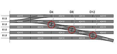 Neu Länge 119 mm Roco H0 42511 diagonalgerade DG1 mit bettung