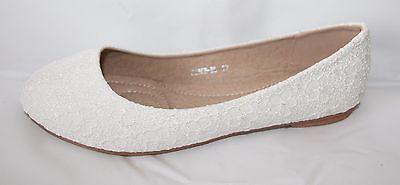 Ballerina Brautschuhe In Weiss Ivory Oder Grau Spitze Blumen Optik B985H-Bl