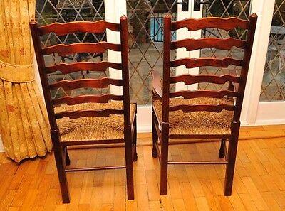 8 Rustic English Oak Ladder Back Chairs Ladderback 10