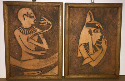 2  Antique Terracotta Carved Wall Plaque, Art, Egyptian Folk Art Signed, Nice 12