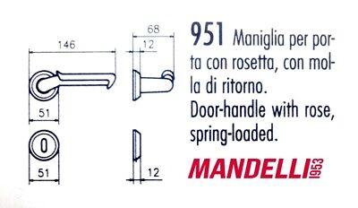 MANIGLIA PER PORTA MANDELLI serie SELLA 951 finitura tutta  ORO LUCIDO/SATINATO