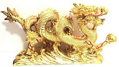 NEW LARGE GOLD Chinese Feng Shui Dragon Figurine Statue for Luck & Success 3