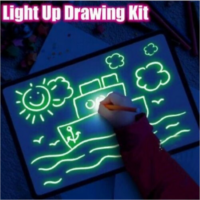 Light Up Drawing Fluorescent Magic Writing Board Kit Kids Fun And Developing Toy 2
