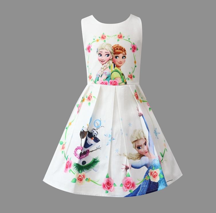 Girls Frozen Anna Elsa Princess Dress Sleeveless Wedding Birthday Party Costume