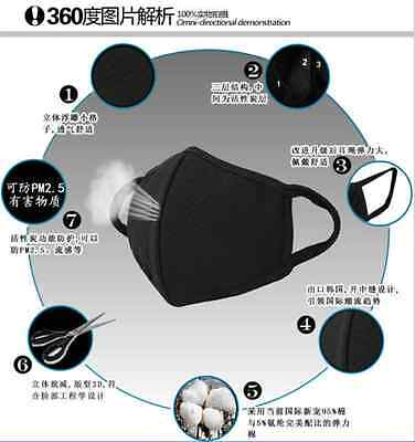 2Pcs Black Health Cycling Anti-Dust Cotton Mouth Face Respirator Unisex Mask NEW 7