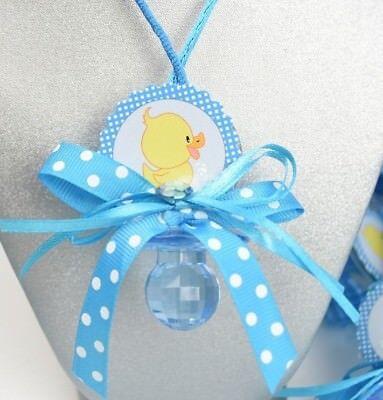 12 X Baby Shower Pacifier Necklaces Favors Boy Blue Recuerdos Collares Nino Azul