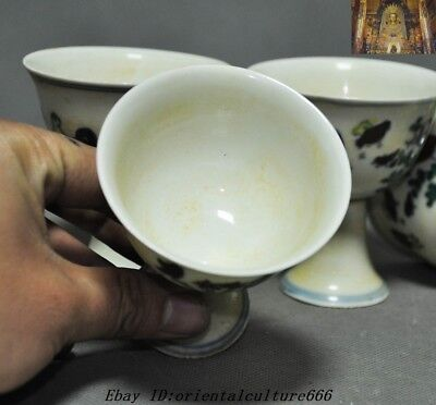 Marked China Dynasty Wucai Old Porcelain chicken rooster Bowl Cup Goblet Set 11