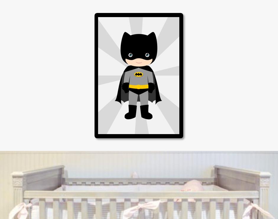 Cute Superhero Nursery Wall Art Print Baby Boy Room