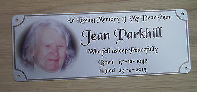 remembrance bench plaque photo memorial, 200mm x 75mm, metal, aluminium 3