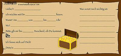 10 Postkarten Einladungskarte Einladung Geburtstag Schatzsuche