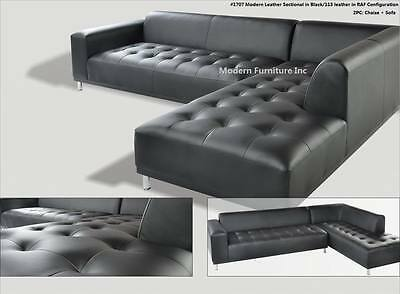 3 Pc Set Modern Contemporary Blue 5521 Leather Sectional Sofa 1707