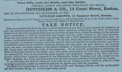 RARE Advertising Leaflet Flyer  1846 Dr Fontaine Balm of Thousand Flowers Boston 3