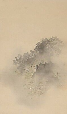 Japan Japanese inks on Silk Scroll Depiction Foggy Mountain Landscape ca. 20th c