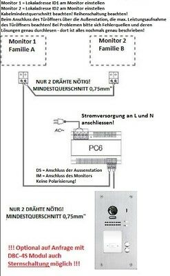 """2 Familien 2 Draht Bus Video Türsprechanlage 7"""" Klingelanlage Fischaugenkamera 2"""