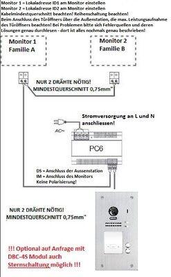 """2Familien 2 Draht Bus 7"""" Video Türsprechanlage Klingelanlage Fischaugenkamera"""