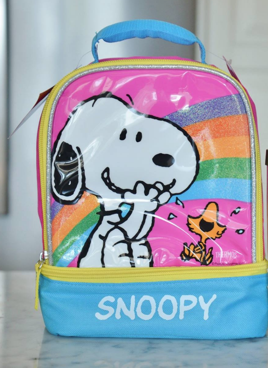 (2) New Peanuts Thermos Dual Compartment Lunch Tote Bag + Book + Coloring Kit 3