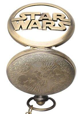 Stars Wars Bronze Pocket Watch Walt Disney Darth Vader Retro Millenniun Falcon 8
