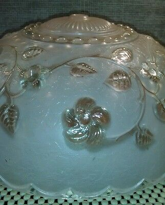 Art Deco Nouveau Chandelier Shade, Pink & Clear Glass, Floral. Victorian!  Nice! 3