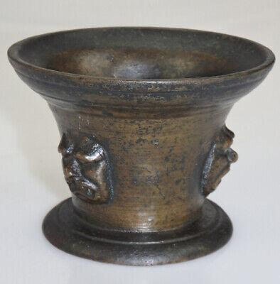 Originaler Mörser Bronze Frankreich Maskaron Grotesken Fratzen Um 1650 5