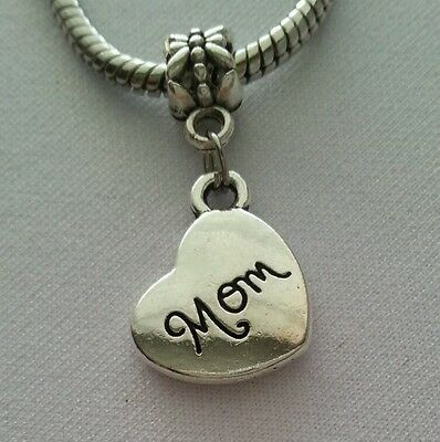 Daughter Sideways Heart Gift Mother Dangle Charm fits European Bead Bracelets