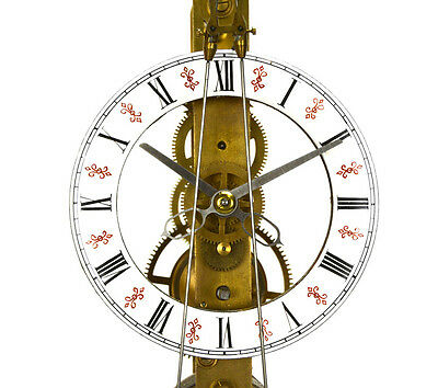 Fusee Drive Scissors Pendulum Brass Skeleton Clock - It has 2 Swinging Pendulums 3