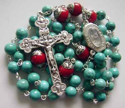 Natural Turquoise & Coral beads Lourdes Water Rosary Cross crucifix Necklace 8